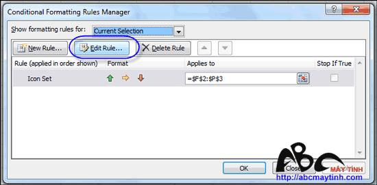 Tự động gán biểu tượng vào ô tính Excel 2010