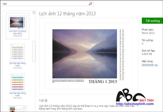 Tải các mẫu lịch 2013 làm sẵn từ Microsoft