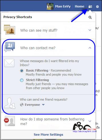 Truy cập nhanh các thiết lập cá nhân trong Facebook